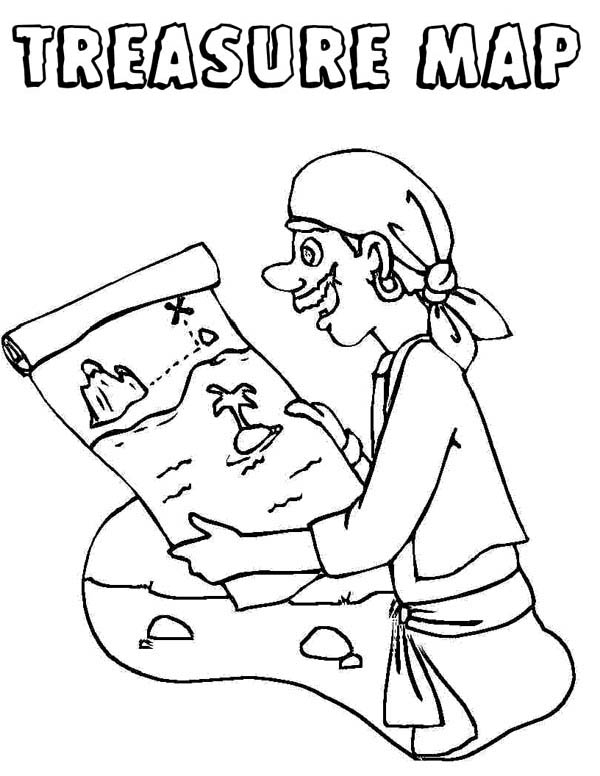 Treasure Map, : Pirate and Treasure Map Coloring Page