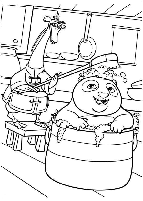 Kung Fu Panda, : Po Bathing with His Father in Kung Fu Panda Coloring Page