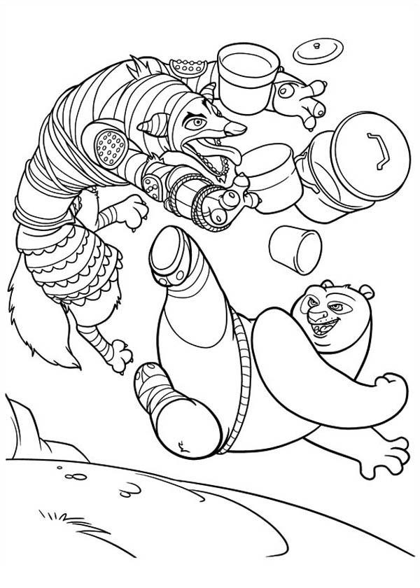 Kung Fu Panda, : Po Jumping in Kick Kung Fu Panda Coloring Page