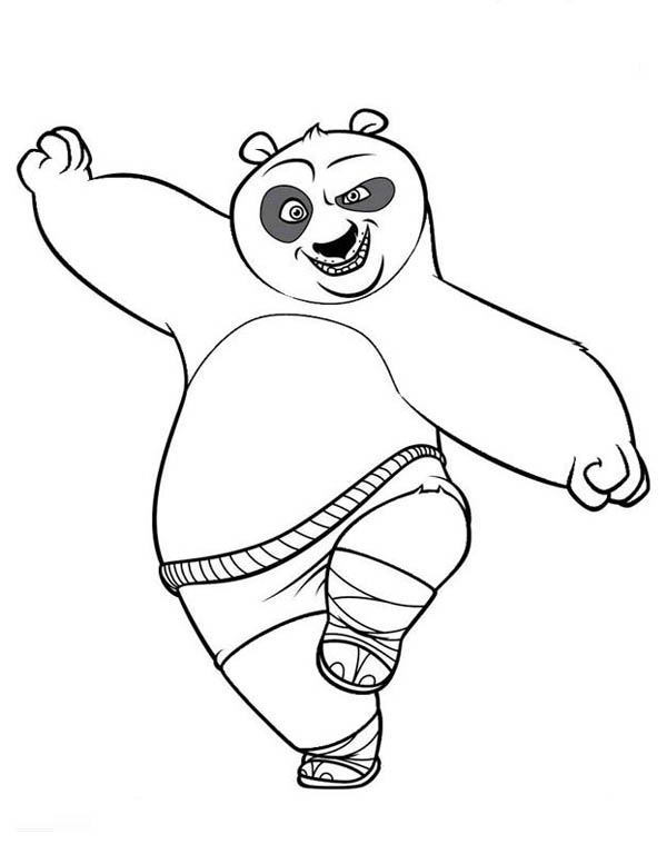 Kung Fu Panda, : Po Stand with One Leg in Kung Fu Panda Coloring Page