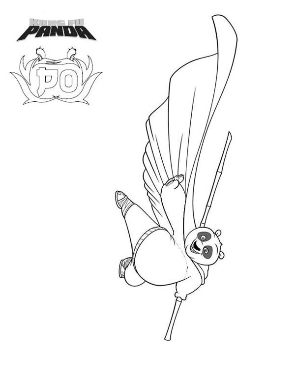 Kung Fu Panda, : Po The Dragon Warrior of Kung Fu Panda Coloring Page