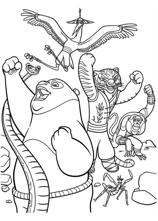 Kung Fu Panda, : Po and The Furious Five Victory in Kung Fu Panda Coloring Page