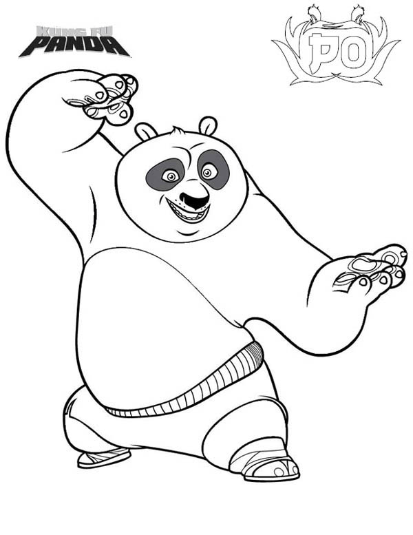 Kung Fu Panda, : Po is Excited to Fight in Kung Fu Panda Coloring Page