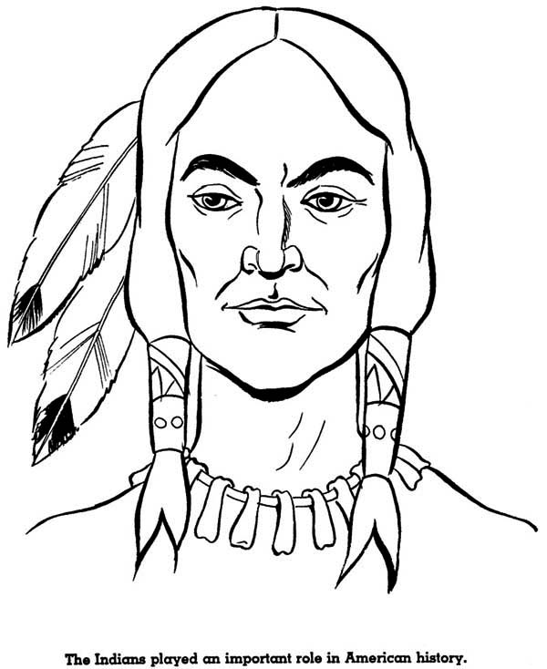 Native American, : Potrait of Native American Coloring Page
