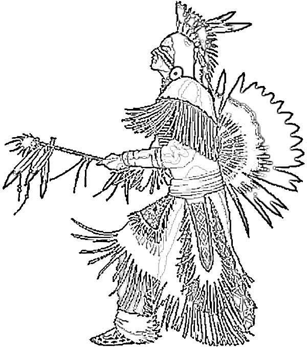 Native American, : Pow Wow Dance is Perform by a Native American Coloring Page