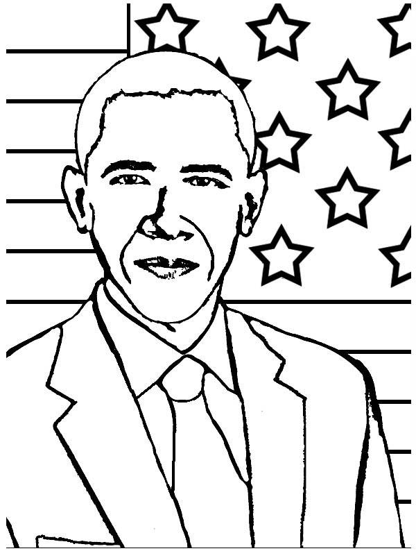 Barack Obama, : President Barack Obama Coloring Page