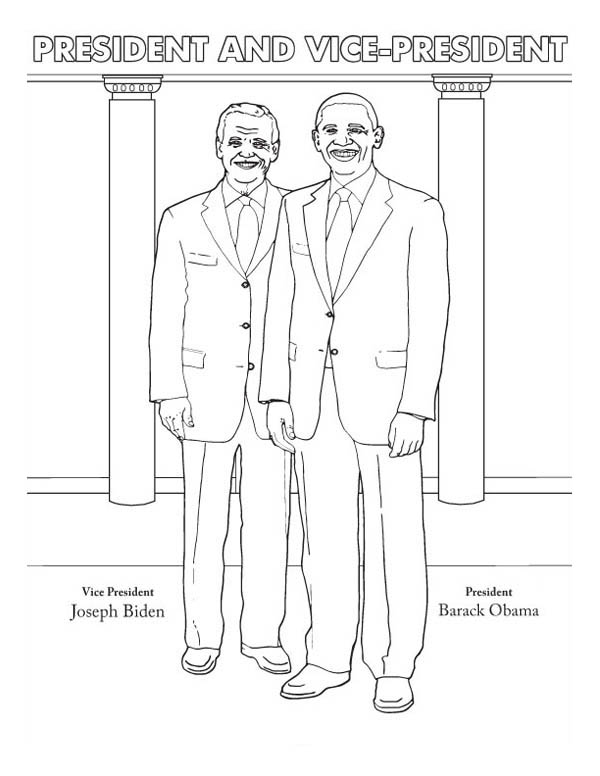 Barack Obama, : President Barack Obama and Vice President Joseph Biden Coloring Page