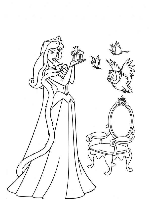 Princess Aurora, : Princess Aurora Accept Give From Three Birds Coloring Page