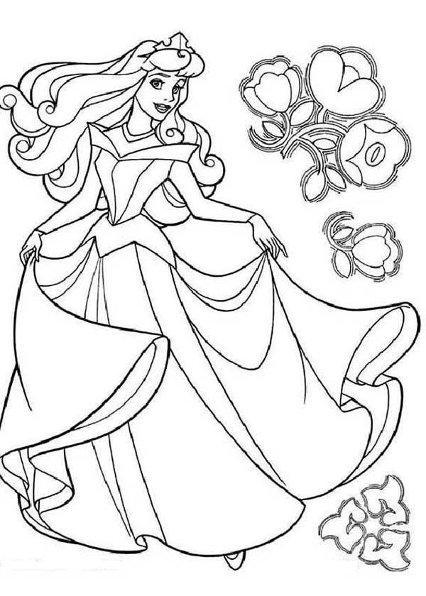 Princess Aurora, : Princess Aurora Dancing with Flowers Coloring Pages