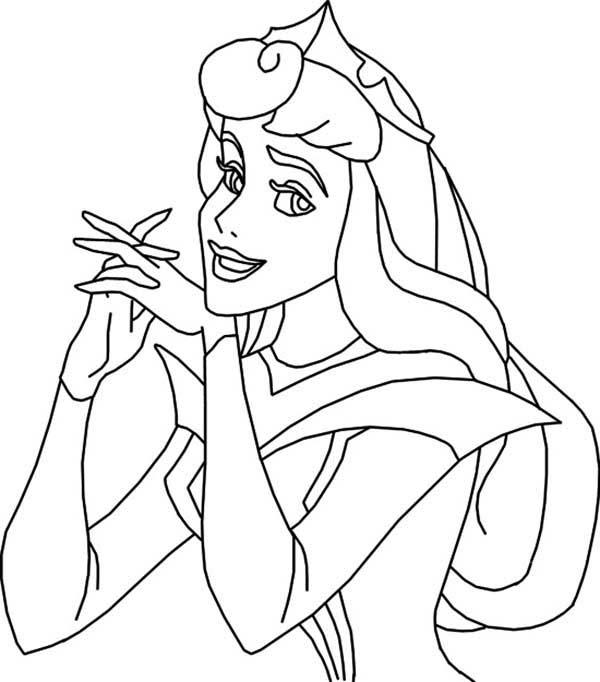 Princess Aurora, : Princess Aurora Laugh Coloring Page