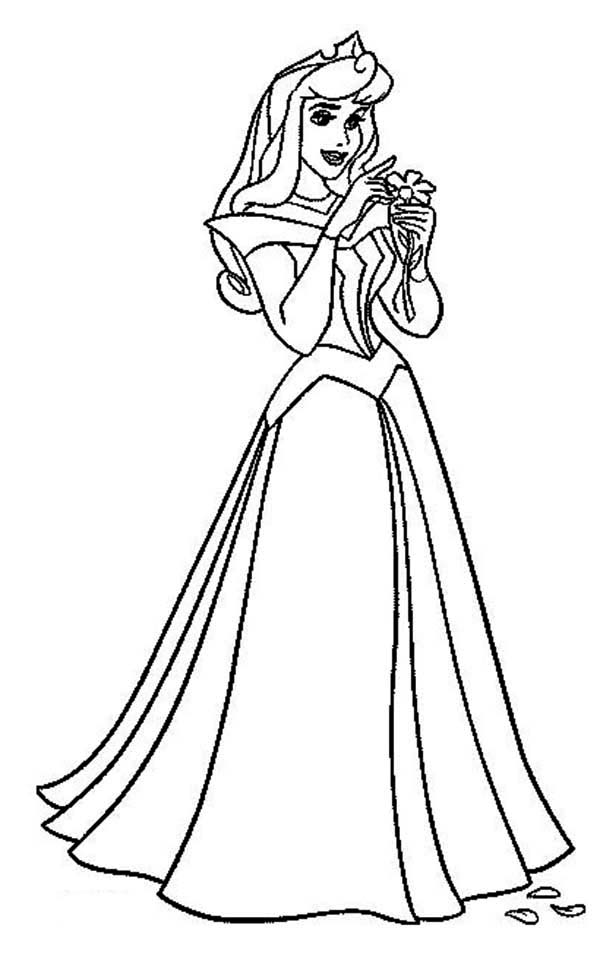 Princess Aurora, : Princess Aurora Smelling a Flower Coloring Page