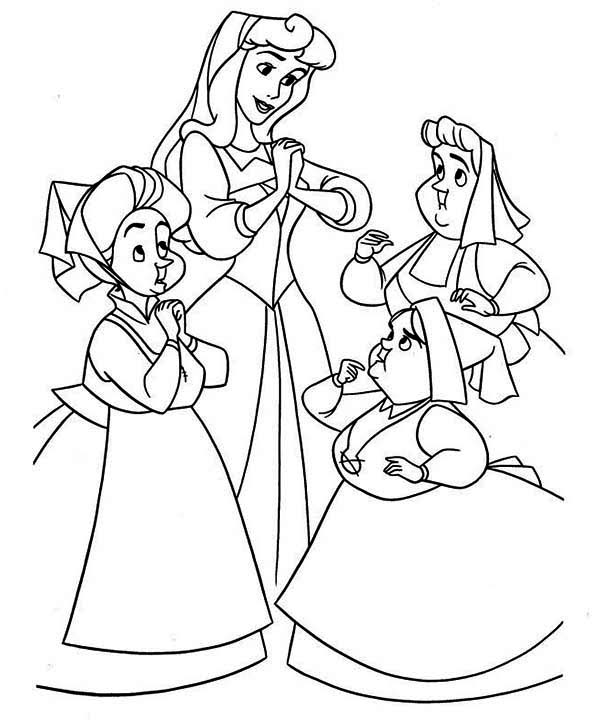 Princess Aurora, : Princess Aurora and Three Cute Maids Coloring Page