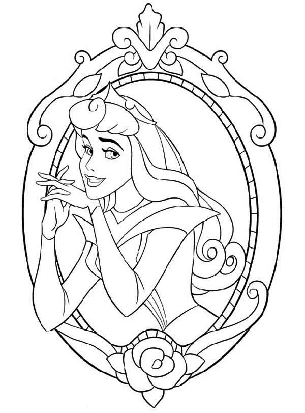 Princess Aurora, : Princess Aurora in the Mirror Coloring Page