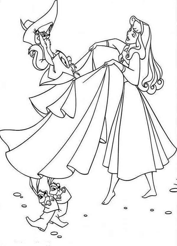 Princess Aurora, : Princess Aurora is Pretending with Prince Phillip Coloring Page