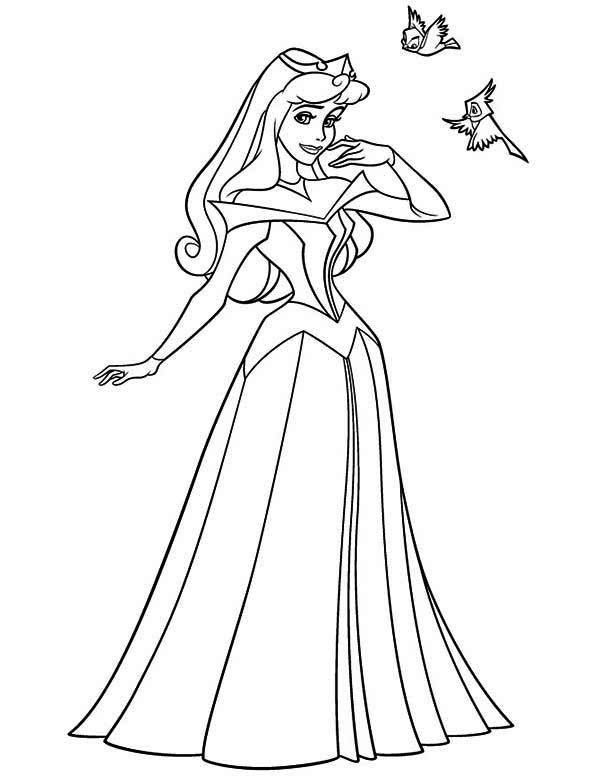 Princess Aurora, : Princess Aurora with Two Birds Coloring Page