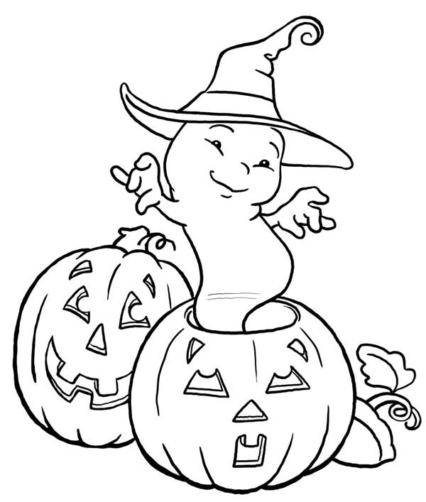 Ghost, : Pumpkin Ghost with Witch Hat Coloring Page