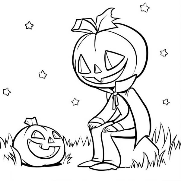 Pumpkins, : Pumpkins Man Talking to Pumpkins Coloring Page
