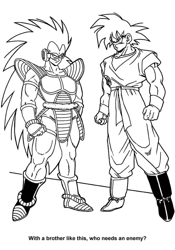 Dragon Ball Z, : Raditz and Kakarot in Dragon Ball Z Coloring Page