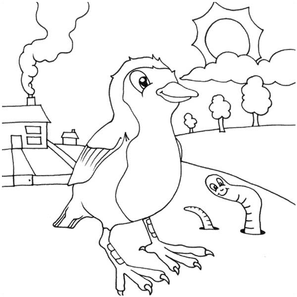 Robin, : Robin and Worm Coloring Page