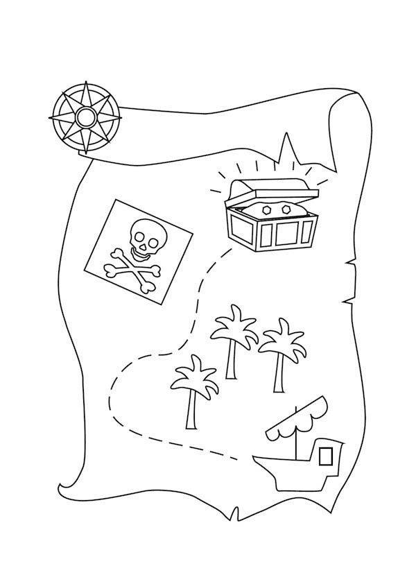 Treasure Map, : Sailing with Treasure Map Coloring Page
