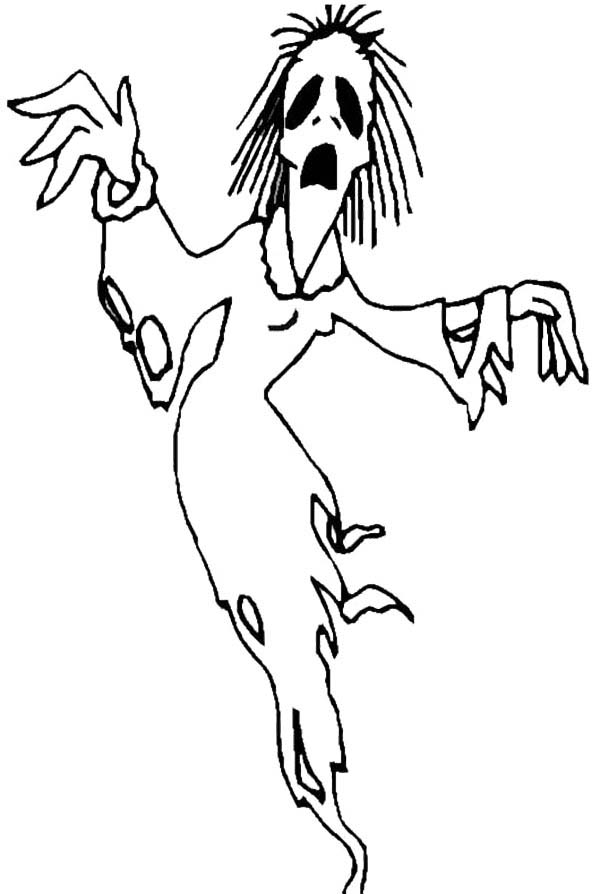 Zombie, : Scream Zombie Coloring Page