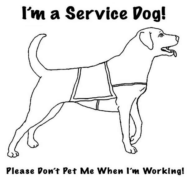 Disability, : Service Dog for Disability People Coloring Page