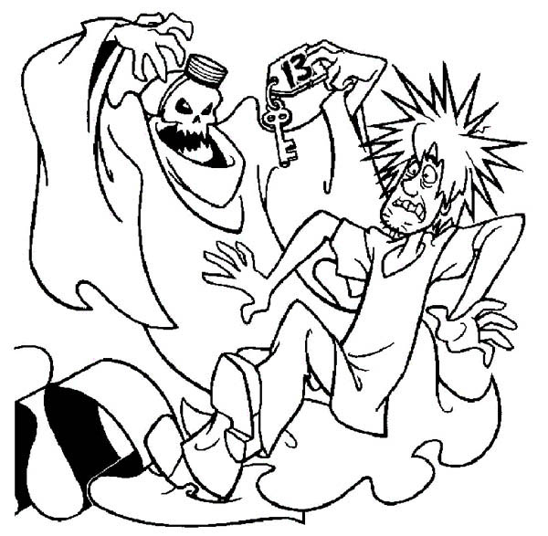 Ghost, : Shaggy Scooby Doo and Thirteen Ghost Coloring Page