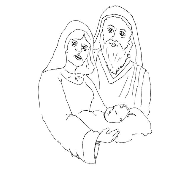Shepherd And Mary And Baby Jesus Coloring Page : Kids Play ...