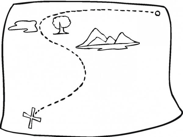 Treasure Map, : Simple Treasure Map Coloring Page