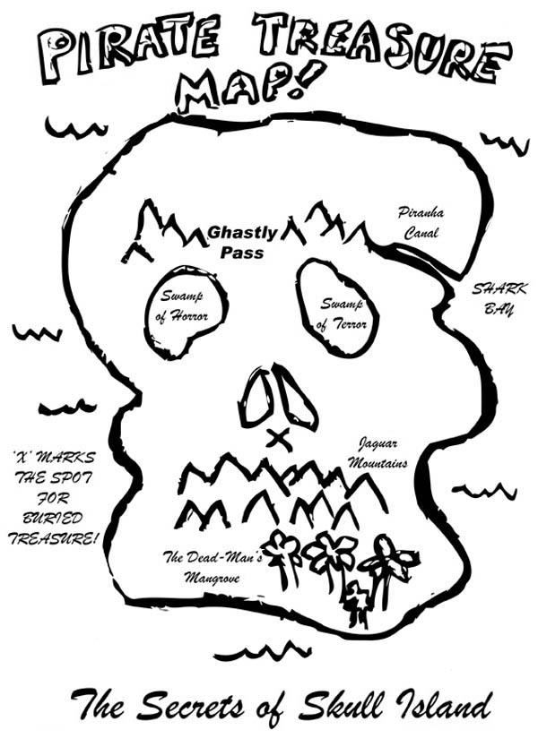 Treasure Map, : Skull Shaped Treasure Map Coloring Page