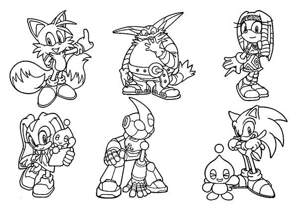 Sonic the Hedgehog, : Sonic the Hedgehog Characters Coloring Page
