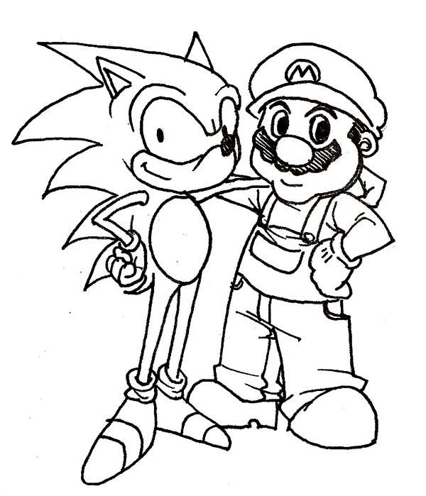 Sonic the Hedgehog, : Sonic the Hedgehog and Mario Coloring Page