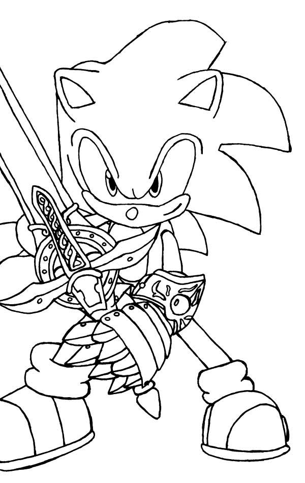 Sonic the Hedgehog, : Sonic the Hedgehog and Sword Coloring Page
