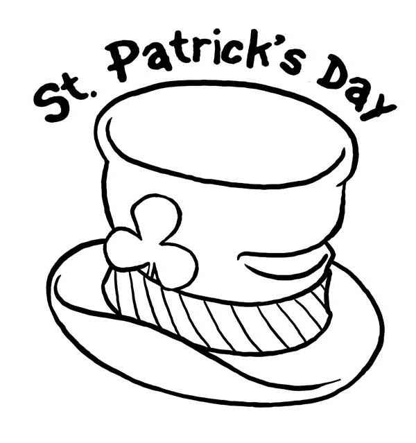 St Patricks Day, : St Patricks Day and Leprechauns Hat Coloring Page