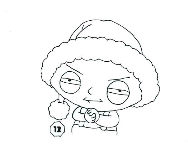 Family Guy, : Stewie Wearing Santa Hat in Family Guy Coloring Page