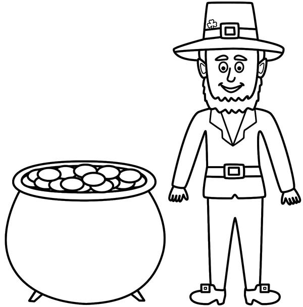 Leprechaun, : Tall Leprechaun with a Pot of Gold Beside Him Coloring Page