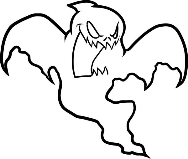 Ghost, : Terrifying Bat Ghost Coloring Page