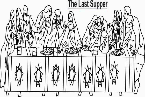 Last Supper, : The Bible Last Supper Coloring Page