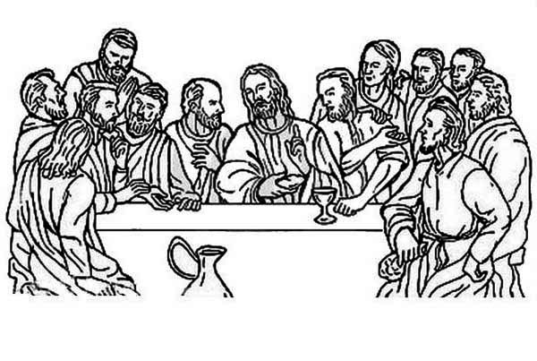 Last Supper, : The Eucharist of the Last Supper Coloring Page