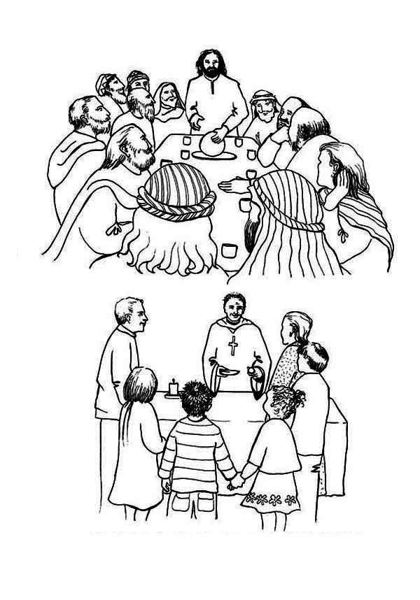 Last Supper, : The History of the Last Supper Coloring Page