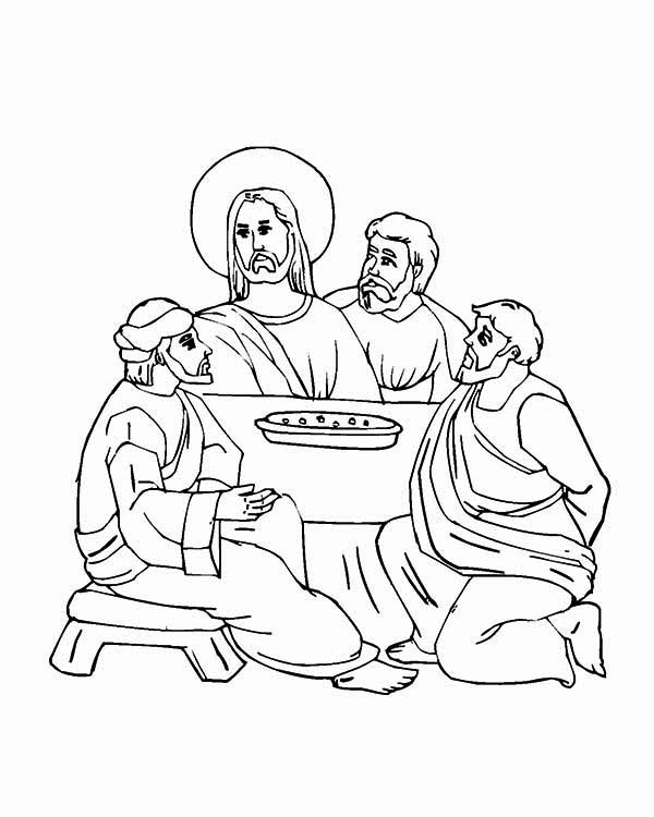 Last Supper, : The Last Meal of Jesus in the Last Supper Coloring Page