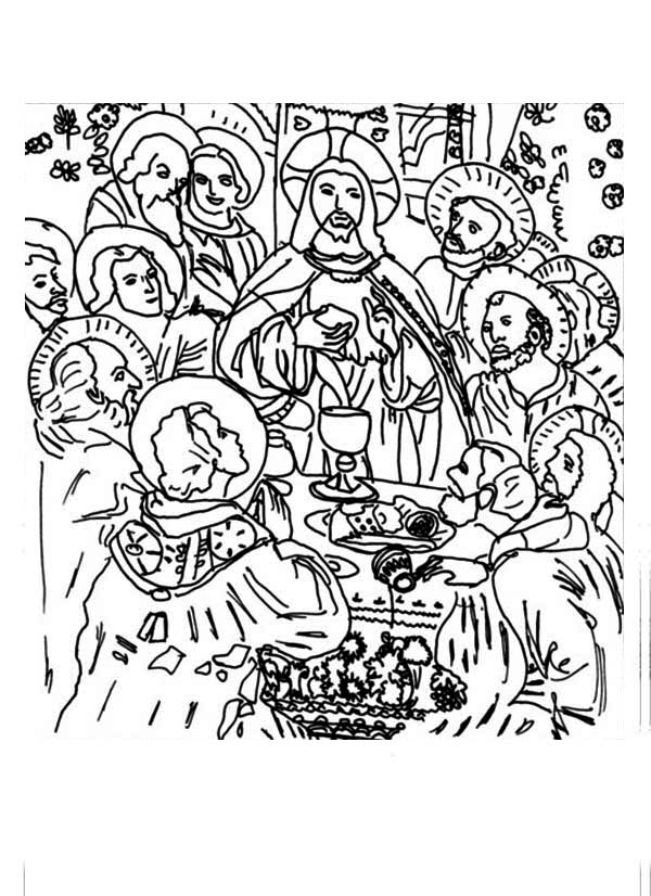 Last Supper, : The Last Supper Picture Coloring Page