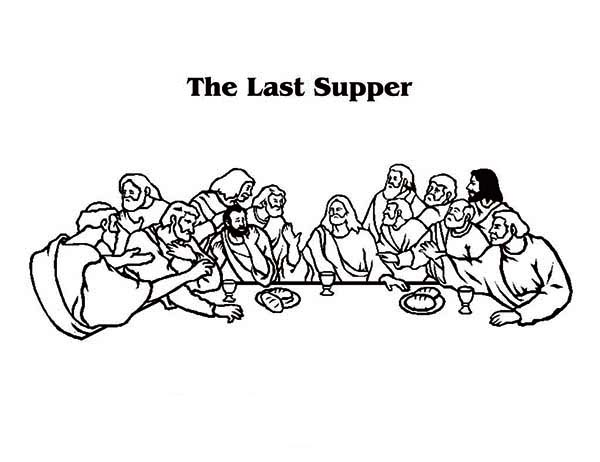 Last Supper, : The Scenery of the Last Supper Coloring Page