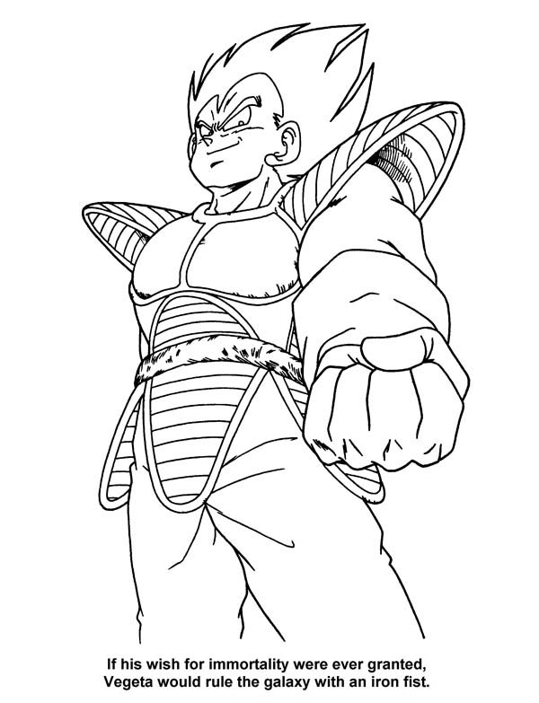 Dragon Ball Z, : The Villain Vegeta in Dragon Ball Z Coloring Page