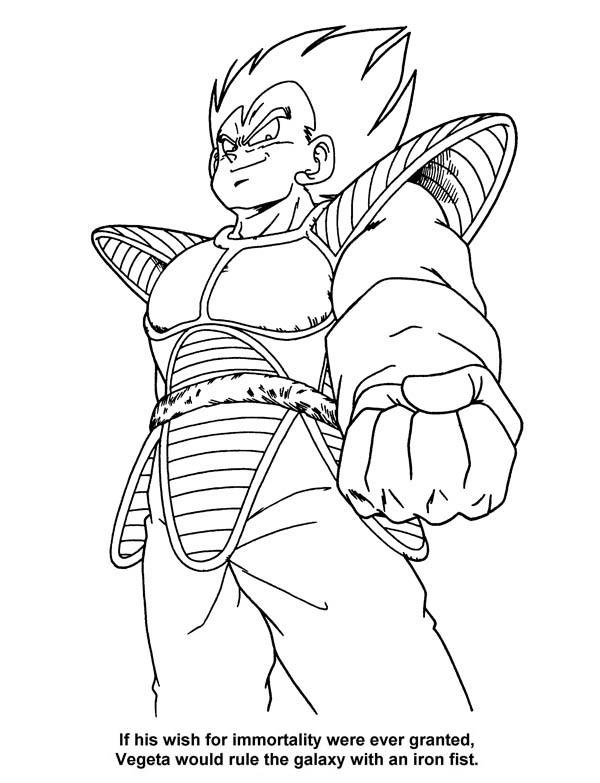 Dragon Ball Z, : The Villain Vegeta in Dragon Ball Z Coloring Page