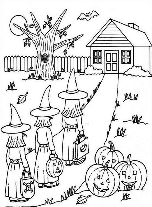 Haunted House, : Three Witch Entering Haunted House Coloring Page