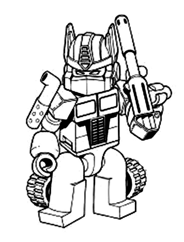 Transformers Oprimus Prime With Bazooka Coloring Page Kids Play Color