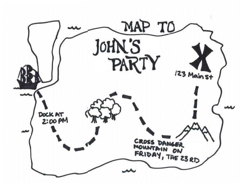 Treasure Map, : Treasure Map for John's Party Coloring Page