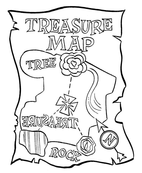 Treasure Map, : Treasure Map with Rose Coloring Page