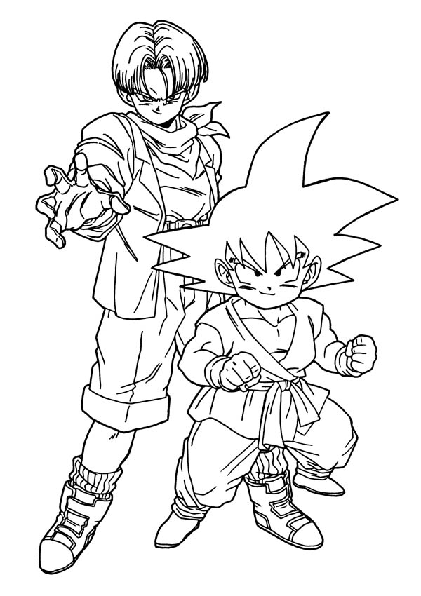 Dragon Ball Z, : Trunks and Goku in Dragon Ball Z Coloring Page